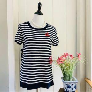 LOFT Navy & White Striped Cotton Anchor Sweater